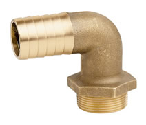 7150 - CR Brass M. hose tail elbow heavy type